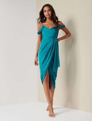 Forever New Hadley Waterfall Midi Dress - Turquoise - 10