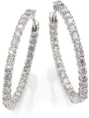 Roberto Coin 18K White Gold & Diamond Hoop Earrings/1.2""