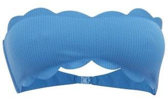 Marysia Swim Santa Monica Scalloped Bandeau Bikini Top - Womens - Blue