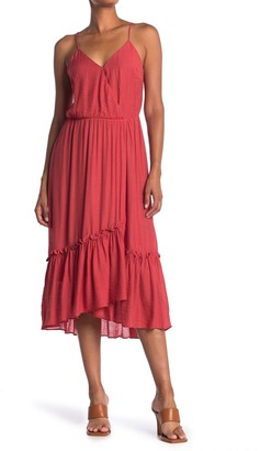 Lush Flounce Hem Woven Surplice Dress