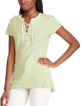 Chaps Women's Striped Lace-Up Top
