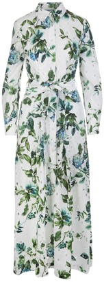Blumarine White Cotton Floral Print Shirt Dress
