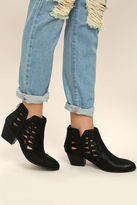 Qupid Sutton Black Cutout Ankle Booties