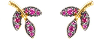 Latelita Leaf Ruby Gemstone Stud Earrings Gold