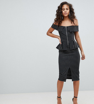 Asos Tall ASOS DESIGN Tall bardot pencil dress with peplum and zip detail in pinstripe