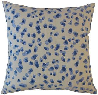 One Kings Lane Snow Leopard Pillow - Blue/White - 20x20