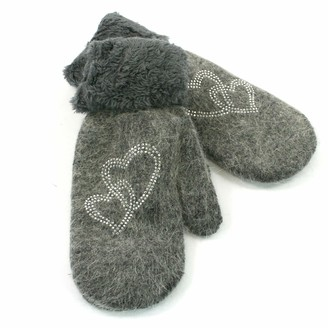 Black Ginger Super Soft Knitted Woollen Mitten Glove with Faux Fur and Heart Design (Grey)