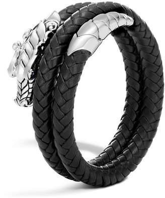 John Hardy Sterling Silver Legends Naga Double Coil Bracelet with Braided Black Leather & Sapphire Eyes