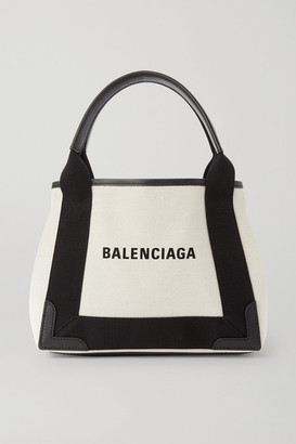 Balenciaga Navy Xs Cabas Leather-trimmed Printed Canvas Tote - Beige