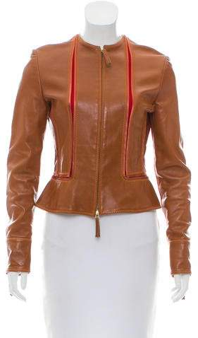 Gianfranco Ferre Collarless Leather Jacket