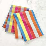 Crate & Barrel Set of 2 Market Stripe and Check Dish Towels