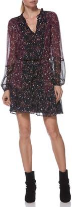 Paige Sonoma Two-Tone Floral Print Silk Dress