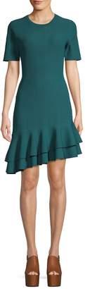 Diane von Furstenberg Adeline Ribbed Ruffle Trim Dress