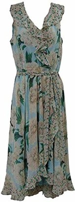 Gabby Skye Women's Sleeveless Mint/Ivory Floral Print Dress 14