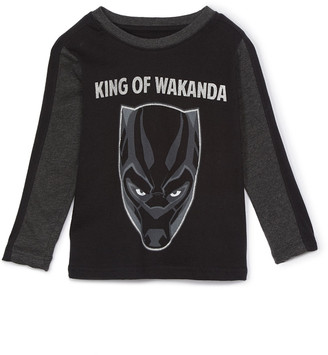 Children's Apparel Network Boys' Tee Shirts BLACK - Black Panther Black 'King of Wakanda' Layered Tee - Boys