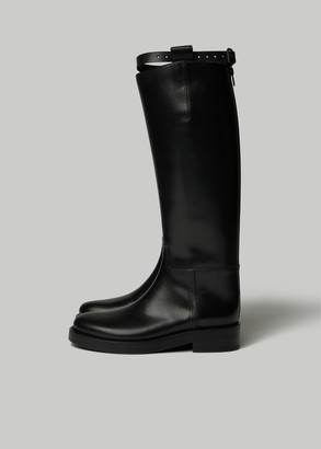 Ann Demeulemeester Women's High Boot with Calf Strap in Black Size 39