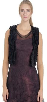 Melody Women's Faux Fur Lace Trimmed Mini Bolero Open Vest (BLACK, MEDIUM)