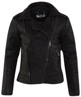 Supertrash Black Textured Pleather Biker Jacket