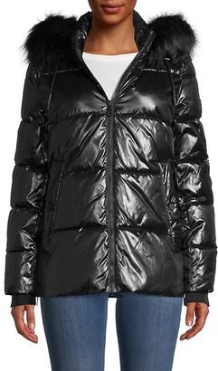 DKNY Cire Faux Fur-Trim Puffer