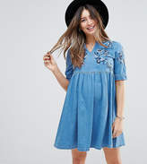 Asos Denim Smock Dress In Midwash Blue With Embroidery