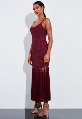 Missguided Burgundy Embellished Tassel Hem Maxi Dress