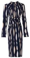 Dorothy Perkins Womens Jolie Moi Navy Wave Long Sleeve Dress, Navy