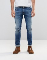 Wrangler Larston Slim Jean Shipwrecked Distressed Dark Wash