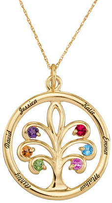 Personalized 14K Gold Family Tree Birthstone Pendant Necklace