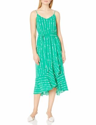 Vince Camuto Women's Sleeveless Ruffle Hem Stripe Belted Dress