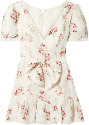 LoveShackFancy Lena Bow-embellished Floral-print Linen Mini Dress
