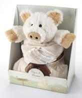 Baby Aspen White Plush Pig in a Blanket Set
