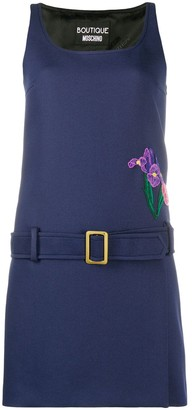 Boutique Moschino Applique-Flower Belted Mini Dress