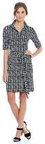 Jessica Howard Grid Pattern Cuff Sleeve Tie Waist Shift Dress