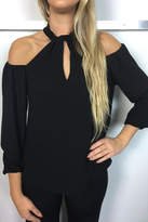 Veronica M Black Halter Blouse