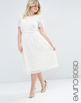 Asos Lace Crop Top Midi Dress