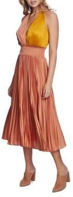 1 STATE 1.State Pleated Colorblock Midi Dress