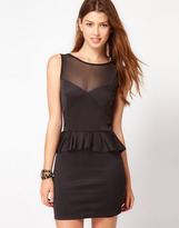 Club L Peplum Dress With Mesh Detail