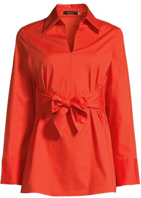 Natori Stretch Cotton Tie-Front Tunic