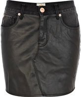 River Island Womens Black leather look front denim skirt