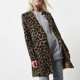 River Island Womens Petite leopard print overcoat