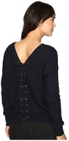 Brigitte Bailey Francesca Lace-Up Long Sleeve Sweater