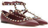 Valentino Rockstud Rolling Leather Ballerinas
