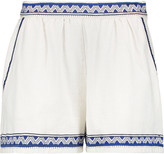 Maje Embroidered cotton-canvas shorts