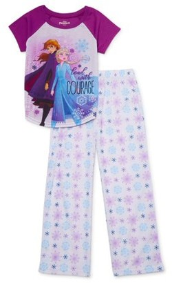 Disney Frozen Girls 4-8 Short Sleeve Top & Long Pants, 2-piece Pajama Set (Big Girls)