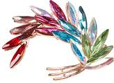 Goldtone & Rainbow Rhinestone Feather Brooch