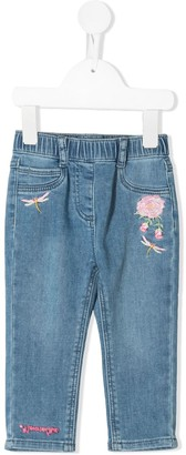 MonnaLisa Elasticated Jeans With Floral Embroidery