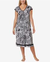 Ellen Tracy Plus Size Printed Knit Ballet-Length Nightgown