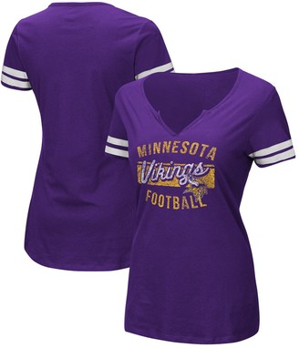 Majestic Women's Purple/White Minnesota Vikings Showtime Tailgate Party Notch Neck T-Shirt