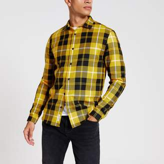 River Island Mens Yellow check regular fit shirt