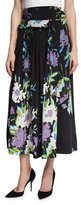 Diane von Furstenberg Floral-Print D-Ring Silk Midi Skirt, Multicolor